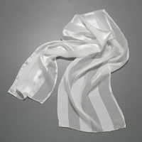 "Chiffon Scarf, 2"" Satin Stripe, 9.5 X 60, 10mm, White"