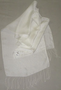 "Mesh Silk Scarf with 3.5"" Self Fringe, White, 12 x 60"
