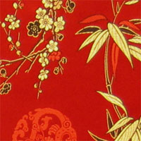 "Brocade, 29"" - (043) Red, Gold/ Black Bamboo/ Symbol"