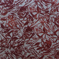 "Burnout Velvet, 45"", Floral Lines - (618A) DarK Burnt Orange/Brown"