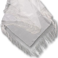 "Habotai Triangle Shawl with Rayon Fringe, 42 X 66"", 8mm, Natural White"