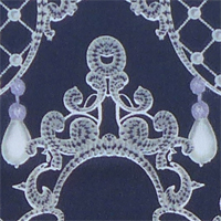 "Printed Charmeuse, 16mm, 45"" - (1321-1) Pearls and Diamonds, Silver/White on Black"