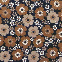 "Printed Charmeuse, 16mm, 45"" - (1703-1) Chocolate Brown Flowers"