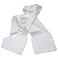 Charmeuse Scarf, 14  X 72, 19mm, White, Machine Hemmed