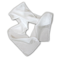 Charmeuse Scarf, 8 X 54, 19mm, White, Machine Hemmed