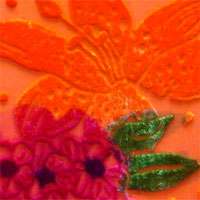 "Handpainted Burn out velvet, 45"" - (5039) Mixed Floral, Orange Fuchsia"