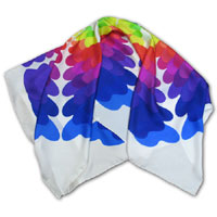 "34X34"" Printed Silk Twill Scarf, Color Palette, Multi color on White"