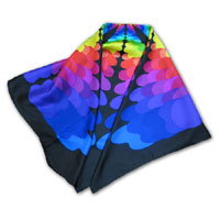 "34X34"" Printed Silk Twill Scarf, Color Palette multi on Black"