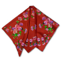 "44 x 44"" Print Twill Scarf - Geraniums - Pinks on Red"