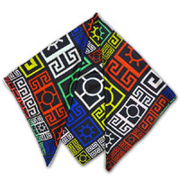 "44"" x 44"" Print Twill Scarf - Hieroglyphics - Red/Blue/Green/Yellow"