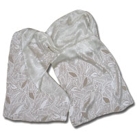 "11X60"" Burn-Out Satin Scarf-Falling Leaves-White"