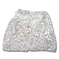 Burn Out Satin Scarf, 13 X 72, White, Flower/Leaves