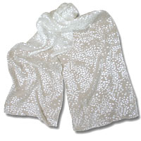 Burn Out Satin Scarf, 14 X 72, White, Spots