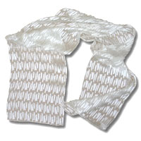 Burn Out Satin Scarf, 14 X 72, White, Stix