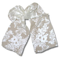 Burn Out Satin Scarf, 14 X 72, White, Floral Petals