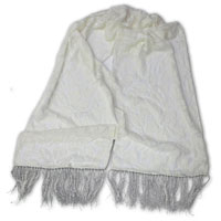 "Cut Velvet Scarf, 14x72"", with 3"" Rayon Fringe - (10-000) Tumbled Leaves"