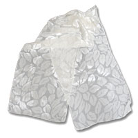 "Burn out Velvet Scarf, 11X60"" Natural White - (10-000) Tumbled Leaves"