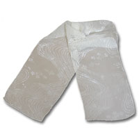 "Burn out Velvet Scarf, 11X60"" Natural White - (12-000) Beaded Path"