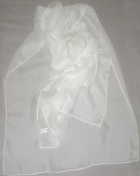 "Chiffon with Beads around, 22 x 80"" - (000) Natural White"