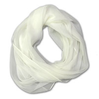"Infinity Scarf, 72"" around 17"" wide, 8mm Chiffon, Natural White"