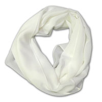 "Infinity Scarf, 72"" Around, 17"" Wide 14MM Crepe, Natural White"